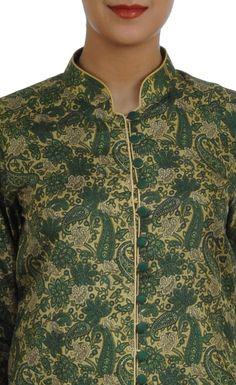 Green Handwoven Banarasi Zari Paisley Pure Brocade Silk Jacket ...