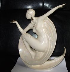 ceramic lustre luster lusterware Art Deco Lady Figurine figure statue Signed may