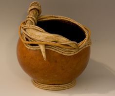 Art Gourd with Antler and Coiled Rim