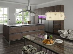 Modern Rustic Kitchen Ideas With Wooden Floor And Table. This picture is one of many ideas on 25 modern rustic kitchen ideas. Industrial Kitchen Design, Rustic Kitchen Cabinets, Contemporary Kitchen Design, Rustic Contemporary, Interior Design Kitchen, Kitchen Decor, Modern Rustic, Kitchen Ideas, Kitchen Island