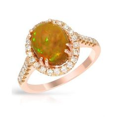 Cocktail Ring With 2.72ct TW Precious Stones - Genuine Diamonds and Opal Beautifully Crafted in 14K Rose Gold