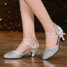 c73cc39e9310  US  21.99  Women s Leatherette Sparkling Glitter Heels Sandals Ballroom  Swing Dance Shoes (053117613)