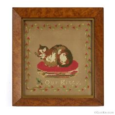 """Who could resist """"Our Kitty""""? Precious wool needlework on perforated paper depicting a calico cat. Likely adapted from a Berlin wool work pattern. 16 holes per inch. Original period birds eye maple frame. Bristol Board, Folk Art, Punch, Primitive, Needlework, Berlin, Kitty, Birds, Wool"""