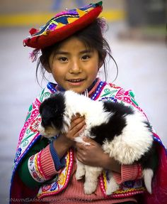 A Girl and Her Dog, Cusco, Peru, South America Kids Around The World, We Are The World, People Around The World, Precious Children, Beautiful Children, Kind Photo, Baby Kind, World Cultures, Children Photography