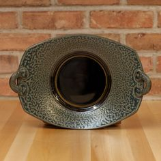 Rectangle Handled Plate in Black | Ash Glaze