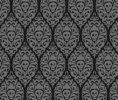 Spooky Damask - Black fabric by pattysloniger on Spoonflower - custom fabric - This would go so well with my dancing skeleton earrings! Also, it comes in purple and in bright citrus!