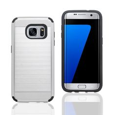 S7 Edge Case,JMORE Dual Layer Hybrid Shockproof Protection Case Cover with (Silver) Brushed-metal PC Shock Absorbing TPU Inner for S7 Galaxy Edge -- Awesome products selected by Anna Churchill