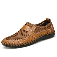 Fashion Men Stitching Honeycomb Mesh Soft Loafers Breathable Outdoor Casual Shoes - NewChic Mobile.
