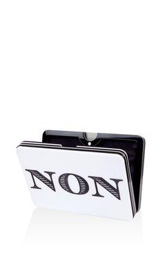 "Le ""Oui-Non"" Plexiglass Clutch by Yazbukey for Preorder on Moda Operandi"