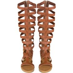 Tall Gladiator Sandals Light Brown ($32) ❤ liked on Polyvore featuring shoes, sandals, light brown shoes, tall sandals, greek sandals, roman sandals and tall shoes