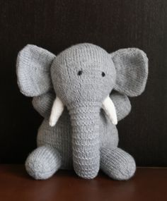 Hand knitted elephant toy. by loopylouknits on Etsy - also available from Many Stitches Knitting on Facebook