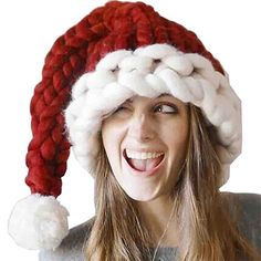 Knitting Patterns Chunky Chunky knit Santa Hat – Knitted Christmas hat – hand knitted chunky red and white christmas hat Wom… Jingle Bell, Noel Christmas, Christmas Stockings, White Christmas, Beautiful Christmas, Amazon Christmas, Christmas Things, Christmas Sweaters, Knitting Yarn