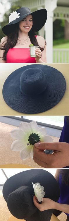 Turn a Beach Hat into a Derby Day Hat in 2 Minutes! >> http://blog.diynetwork.com/maderemade/how-to/how-to-make-a-derby-day-hat-with-a-beach-hat/?soc=pinterest