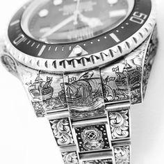 Hand engraved by Ray Hood, London Engraver - nautical themed Rolex DeepSea Sea Dweller