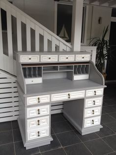 A beautiful antique desk freshly painted in Annie Sloan Paris grey with pure white drawers, lightly distressed and waxed. White Distressed Furniture, White Painted Furniture, Refurbished Furniture, Painting Furniture, Painted Desks, Desk Redo, Desk Makeover, Furniture Makeover, Dresser Makeovers