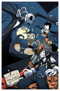 Jack Skellington, Donald Duck, Goofy & Sora   Kingdom Hearts   Halloween Town (oh yes!)