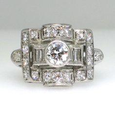 Fantastic Art Deco Heavy Platinum Diamond Ring