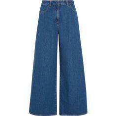 KÉJI Split high-rise wide-leg jeans (7,050 MXN) ❤ liked on Polyvore featuring jeans, highwaist jeans, blue jeans, blue high waisted jeans, tailored jeans and high rise wide leg jeans