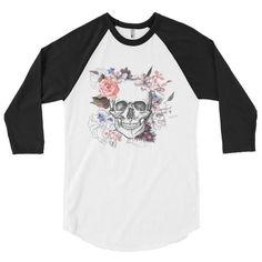 3/4 Ladies Color Floral Skull Raglan Shirt