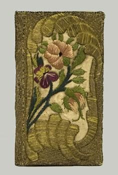 book cover, 1824  binding of white silk, the covers and spine embroidered with gold and silk threads