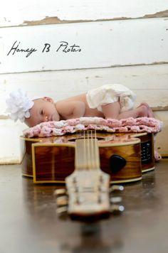 guitar and newborn baby girl honey b photos fort worth photographer
