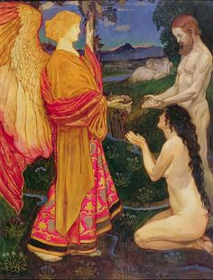Angel Offering the Fruits of Eden to Adam & Eve ~ John Byam Liston Shaw ~ (English: 1872-1919)