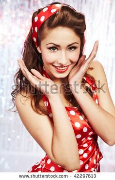 stock photo : Pin-up girl. American style...love this look, wished I could pull it off ;)