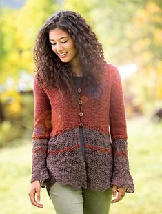 "Based on a traditional Shetland Hap Shawl, this lightweight and springy cardigan makes use of an updated variation of a wavy lace pattern. The name ""talus""—a slope formed by a pile of shale at the base of a cliff or steep incline—is a play on the Old Shale pattern variant used in the lace sections. The cardigan is worked from the top down for minimal seaming."