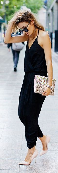 Minimal chic style - scrappy black jumpsuit, black shades, clutch bag and nude pointed toe stiletto pumps #wear...x