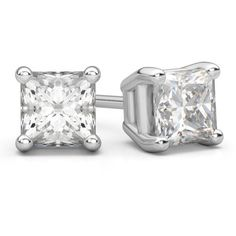 0.25 Carat Princess Cut Diamond Stud Earrings in 18K White Gold (13.580 UYU) ❤ liked on Polyvore featuring jewelry, earrings, white gold stud earrings, diamond jewelry, diamond jewellery, earring jewelry and white gold earrings