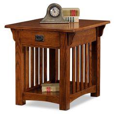 Solid Oak Mission Sienna Drawer End Table