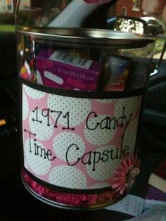 Here is a time capsule of candy made for my friend's Inside the capsule you found: Necco Wafers, Cracker Jacks, Pop Rocks, and many others. 40th Birthday Presents, 40th Birthday Decorations, 40th Birthday Parties, Birthday Centerpieces, 40th Party Ideas, 40th Bday Ideas, Birthday Ideas, Birthday Crafts, Wedding Ideas