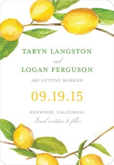 Citrus Ceremony - Save the Date Magnets - Lana Frankel - Lemon - Yellow : Front