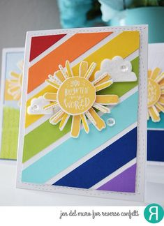 Card by Jen del Muro. Reverse Confetti stamp set: My Sunshine. Confetti Cuts by Reverse Confetti: My Sunshine, All Framed Up. Making Greeting Cards, Greeting Cards Handmade, Making Cards, Strip Cards, Rainbow Card, Handmade Birthday Cards, Birthday Cards For Kids, Get Well Cards, Paper Cards