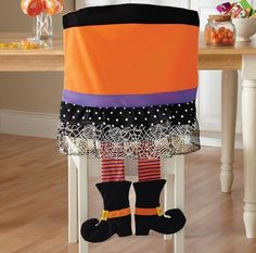 Wicked Witch's Legs Halloween Chair Cover Kitchen Decor Holiday Decor Set of 2