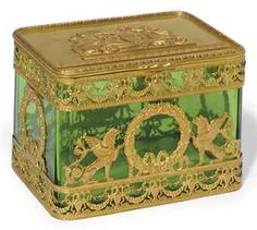 FRENCH GILT-METAL MOUNTED GREEN GLASS CASKET, LATE 19TH CENTURY