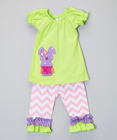 Loving this Green & Lavender Bunny Top & Leggings - Infant, Toddler & Girls on #zulily! #zulilyfinds