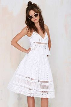 Nasty Gal Wind Cries Mary Eyelet Midi Skirt - Clothes