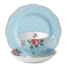 Royal Albert Polka Blue Teáscsésze / csészealj / Plate Set