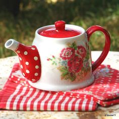 Polka dots and roses in red decoupaged ceramic tea pot