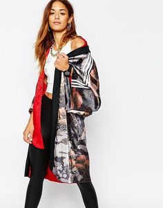 Image 1 of adidas Originals Rita Ora Reversible Kimono In Elegant Print & 3 Stripe