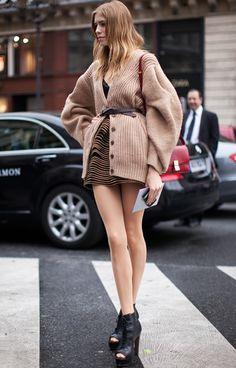 Elena Perminova, love the sweater jacket