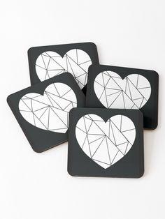 Broken heart [BLACK] Coasters (Set of 4) Designed by Didi Kasa Black Coasters, Sell Your Art, Coaster Set, I Shop, Vibrant, Heart, Artist, Design, Artists