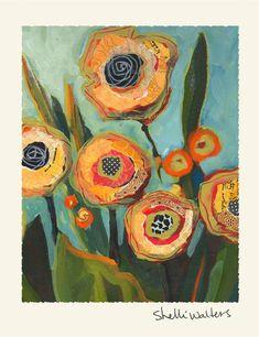 Yellow Flowers Original Painting thoughts for fabric art craft Art Floral, Art Altéré, Art Du Collage, Face Collage, Collage Ideas, Art Textile, Pics Art, Art Design, Fabric Art