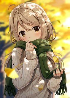 Image d'anime 800x1119 avec  original hyuuga azuri long hair single tall image blush looking at viewer brown hair brown eyes girl scarf leaf (leaves) sweater