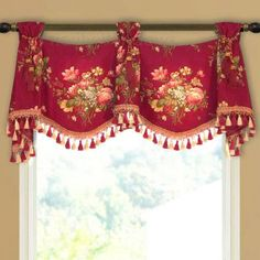 The valance features trumpets and jabots that alternate between beautifully scalloped flat swags. Usually, trumpet and jabot valances are more… Valance Curtains, Window Treatments, Window Decor, Custom Valances, Curtains, Window Coverings, Custom Windows, Custom Window Treatments, Valance Window Treatments