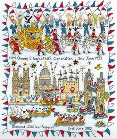British Patriotic Cross Stitch sampler celebrating Diamond Jubilee 6/2012