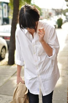 my oversized white button down shirt.  my uniform on the weekends