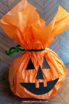 Easy Kids Tissue Paper Pumpkins at Sweet Rose Studio | a great fall and Halloween craft!