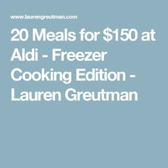 20 Meals for $150 at Aldi - Freezer Cooking Edition - Lauren Greutman